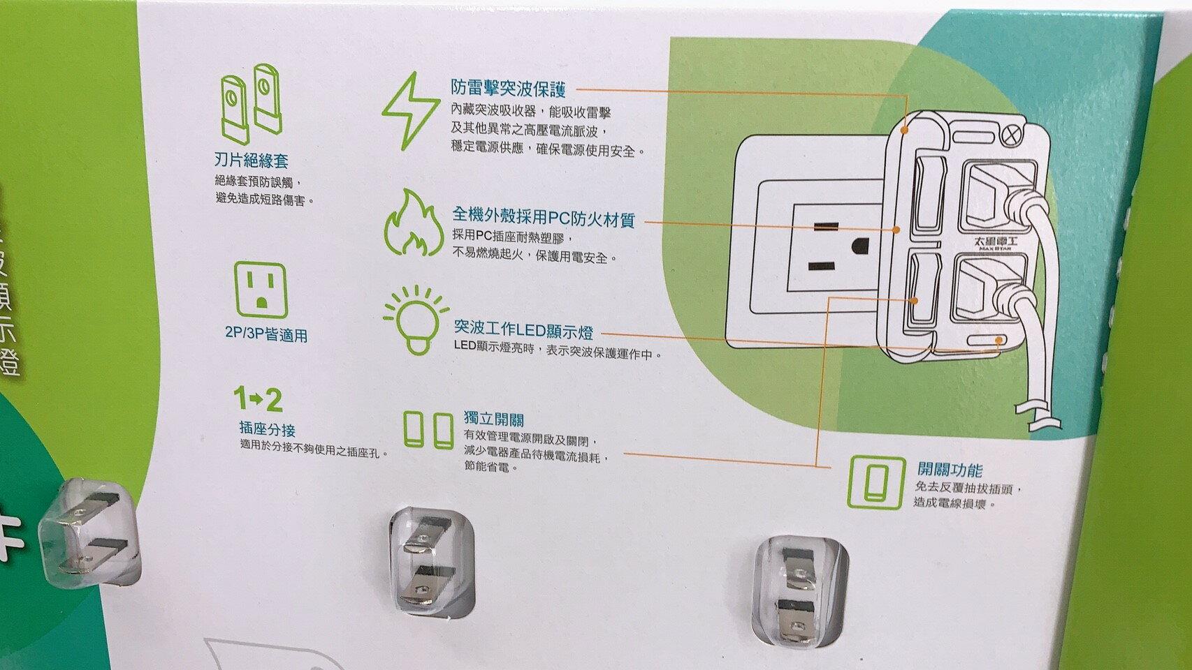 太星電工 二開二插壁插 3入 附突波顯示燈 AC110V  MAX STAR好市多 1
