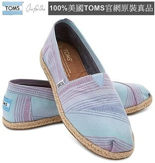 【Cadiz】美國正品 TOMS 藍色夏季條紋亞麻平底鞋 [Blue Summer Stripes Women\
