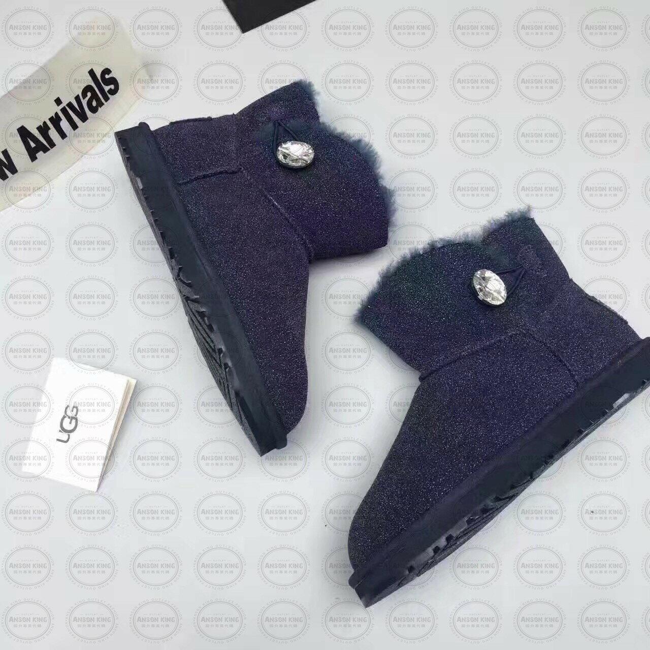OUTLET正品代購 澳洲 UGG 明星同款水晶扣短靴 保暖 真皮羊皮毛 雪靴 短靴 藍色 2