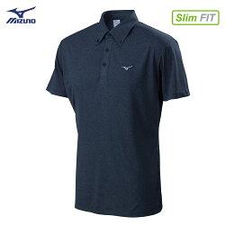 32TA802114(深丈青)吸汗快乾材質合身版型 男短袖POLO衫【美津濃MIZUNO】