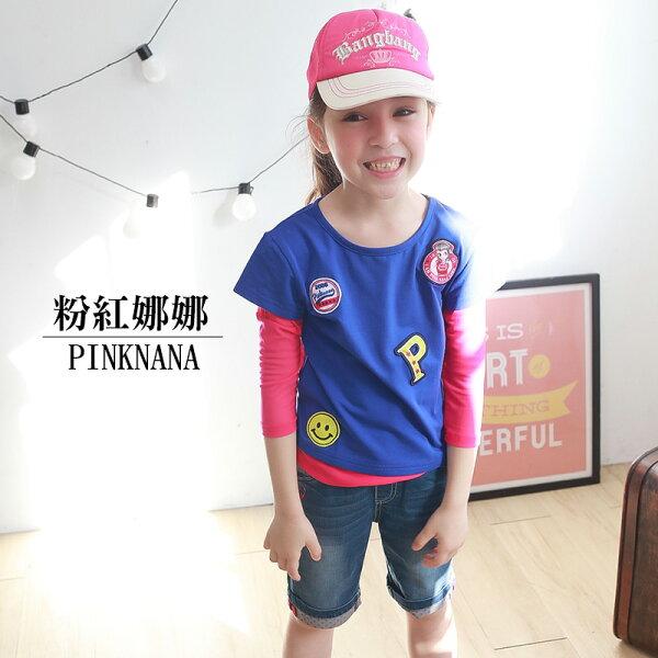 Pink Nana:PINKNANA童裝-假兩件網紗棉質上衣33196