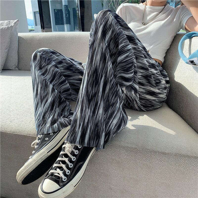 扎染褲女夏季2021新款闊腿褲夏高腰垂感直筒寬鬆顯瘦小個子拖地褲