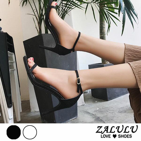ZALULU愛鞋館7DE284預購星閃亮亮細高跟繫繩涼鞋-黑銀-35-39