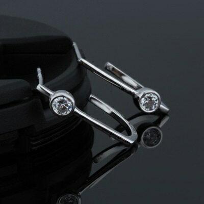 925純銀耳環鑲鑽耳飾~簡潔 百搭生日情人節 女飾品2色73dz58~ ~~米蘭 ~ ~