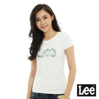 【短T單件390】 Lee 短袖T恤 粉紅色花朵點綴文字印刷 -女款(米白)