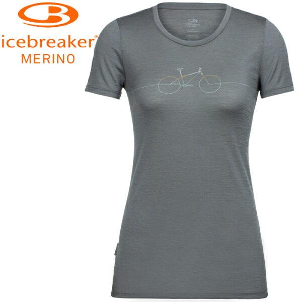 Icebreaker排汗衣短袖T恤美麗諾羊毛TechLite女圓領短袖上衣JN150IB104156001自行車旅行灰
