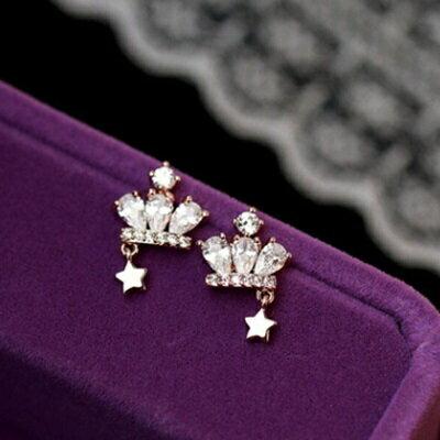 ~925純銀耳環鑲鑽耳飾~ 高檔皇冠五角星情人節生日 女飾品2色73du13~ ~~米蘭