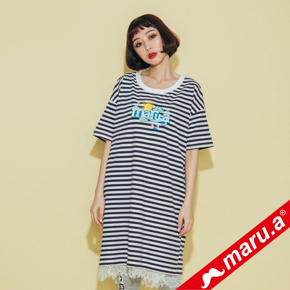 【maru.a】條紋長版蕾絲兩件式洋裝(2色)8317112 3