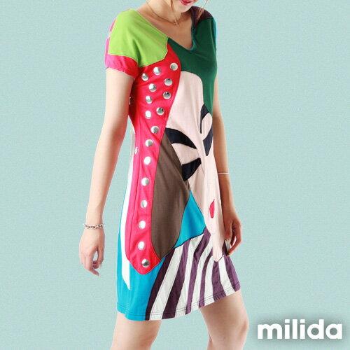 【Milida,全店七折免運】-夏季尾聲-拼貼款-古典人物插畫洋裝 4