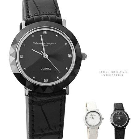 范倫鐵諾Valentino 簡約刻度珍珠貝面真皮腕錶 多角度切割手錶 柒彩年代【NE1572】單支售價 0