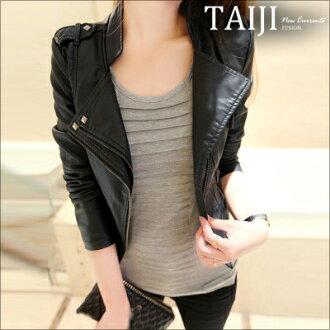 款皮衣‧女款修身短版立領皮衣外套‧一色【NTJ0222】-TAIJI