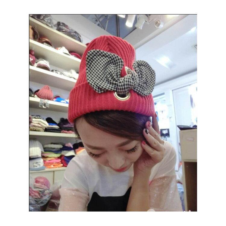 毛帽 格紋蝴蝶結螺紋護耳針織帽【QI4-1612】 BOBI  11/03 2