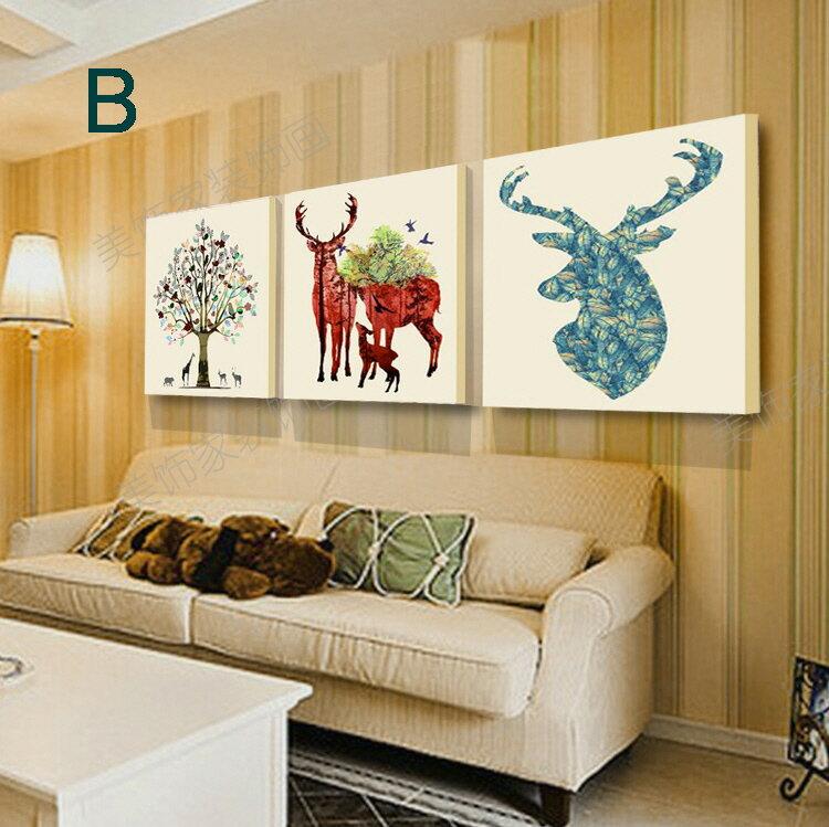 掛畫三件組【RS Home】北歐麋鹿無框掛畫相框木質壁畫裝飾畫板民宿攞飾油畫掛鐘掛畫 2