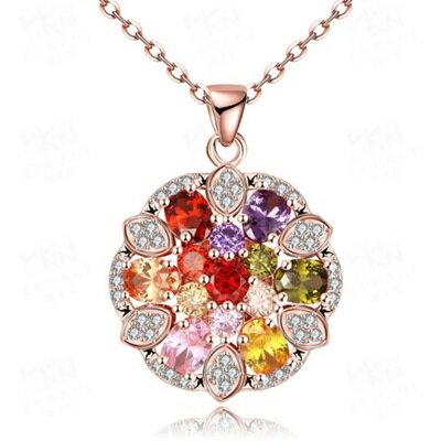 ~玫瑰金純銀項鍊 水晶吊墜~ 繽紛鑲鑽七夕情人節生日 女飾品73br2~ ~~米蘭 ~