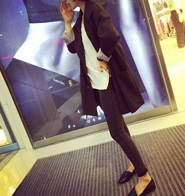 春秋季新款韓版時尚氣質百搭雙排扣中長款長袖休閑小西裝外套女潮1入