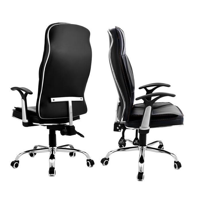 Ergonomic PU Leather High Back Office Chair with Armrests 4