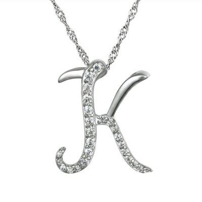 ~925純銀項鍊 鑲鑽吊墜~英文字母K精緻百搭情人節生日 女飾品73dj24~ ~~米蘭