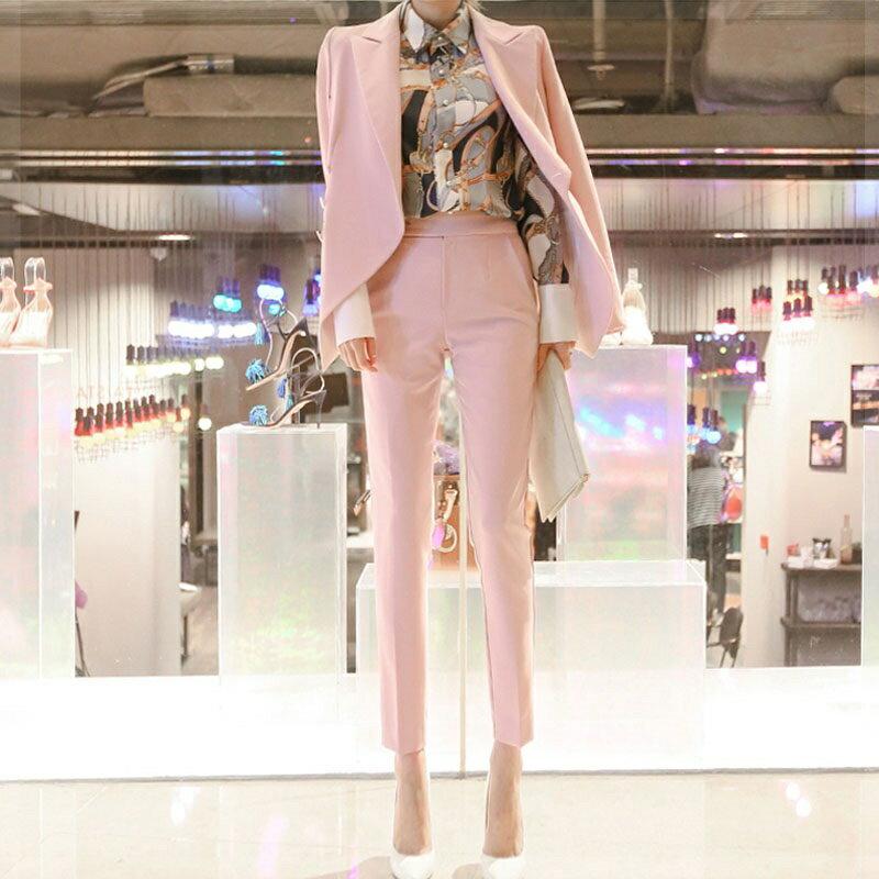 西裝套裝西裝外套+長褲(兩件套)-粉色休閒修身春秋女西服73xs28【獨家進口】【米蘭精品】