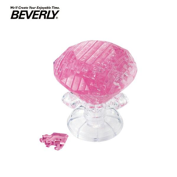【日本正版】BEVERLY粉紅鑽石立體水晶拼圖43片3D拼圖水晶拼圖模型-484448
