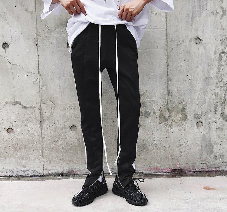 FINDSENSE G6 韓國時尚 條紋撞色運動褲休閒褲男褲長褲