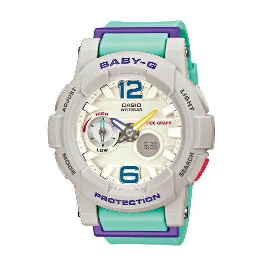CASIO BABY-G BGA-180-3B衝浪滑板青白雙顯流行腕錶/白面44mm