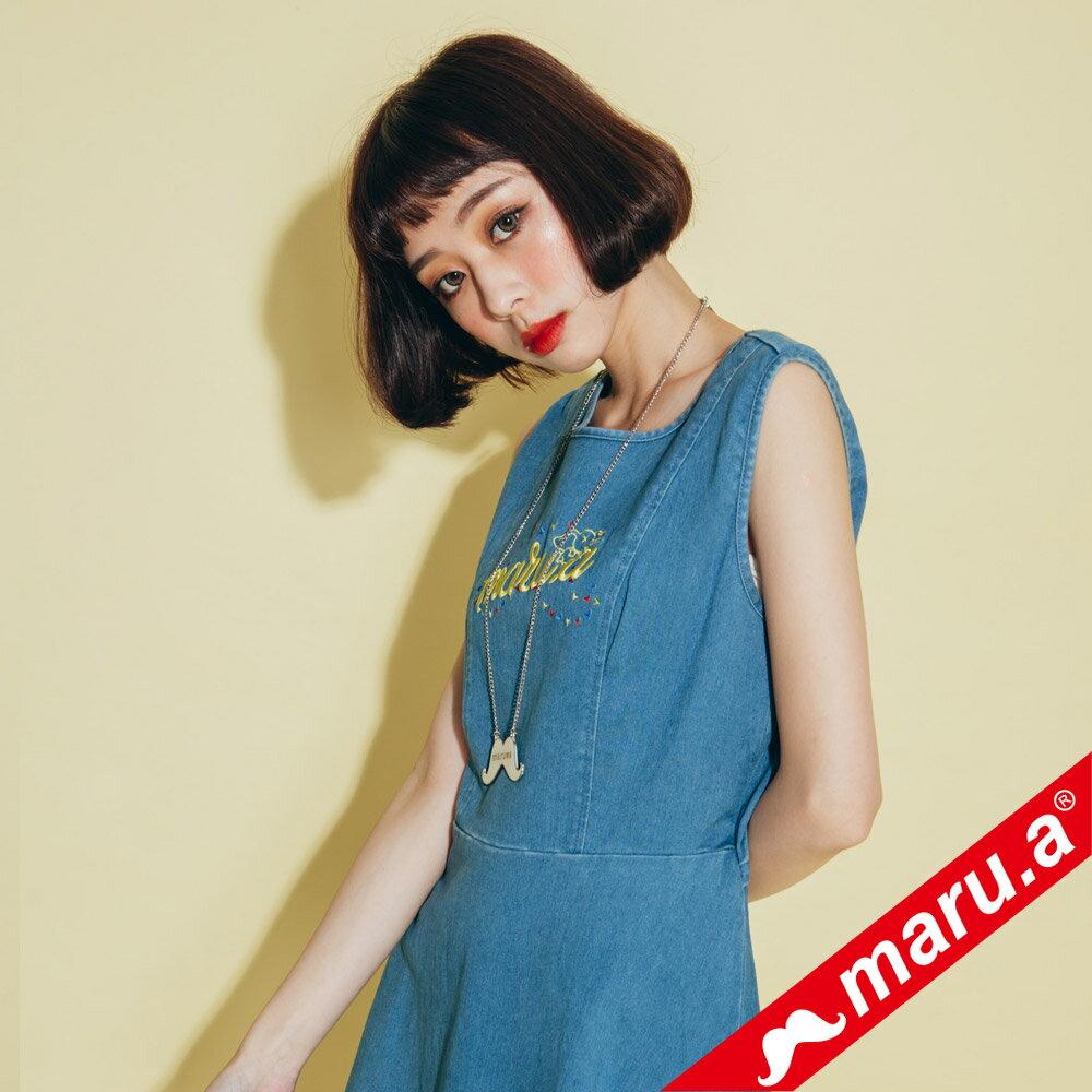 【maru.a】小飛象文字刺繡牛仔單寧洋裝(2色)8317117 0