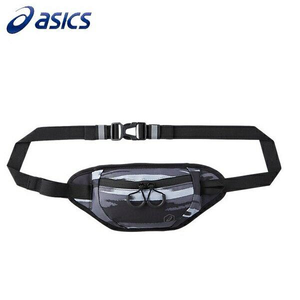 【ASICS 亞瑟士】印花 腰包 慢跑腰包 運動包 潮包- EBM518-1197 黑灰 [陽光樂活]