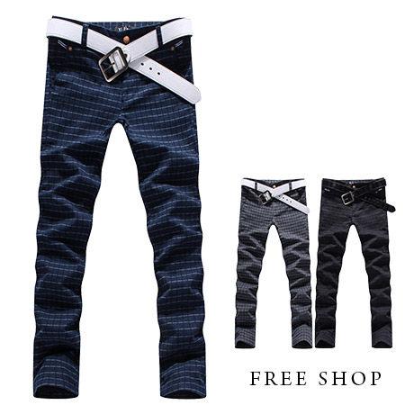~全店399~Free Shop~QMD8868~ 木扣掀蓋口袋格紋 修飾窄版合身休閒長褲