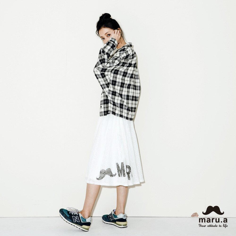【maru.a】手繪LOGO印花布蕾絲長裙7926212 4