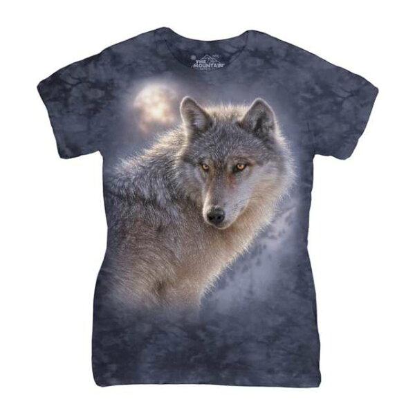 【摩達客】美國進口The Mountain 冒險狼 (預購) 短袖女版T恤 精梳棉環保染