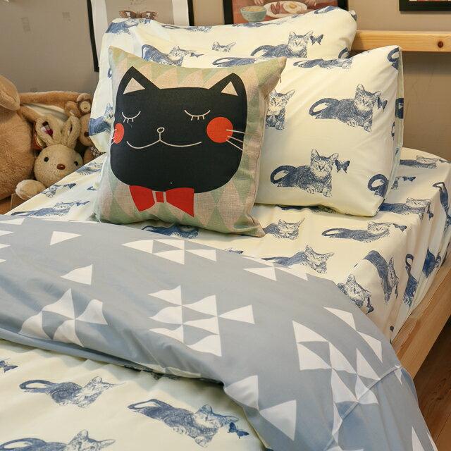 Blue cat 藍貓【床包藍貓】 單人/雙人熱賣組   舒適磨毛布 台灣製造 9