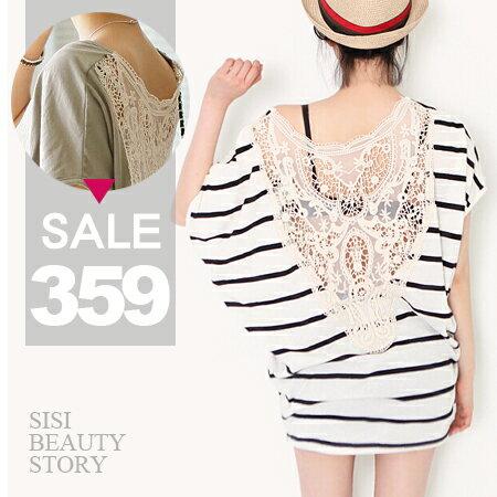 SiSi Girl:SISI【D6108】寬鬆蝙蝠袖背鏤空蕾絲拼接包臀中長版T恤連身裙洋裝