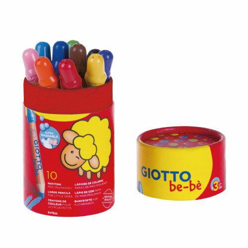 【義大利 GIOTTO】可洗式寶寶木質蠟筆10色(筆筒裝)-★內附GIOTTO木質蠟筆專用安全削筆器