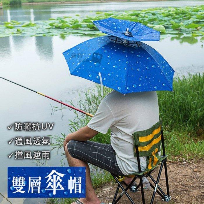 普特車旅 ~OD0153~雙層防紫外線防曬傘帽 釣魚遮陽傘 防雨防風折疊頭戴雨傘 摺疊採茶頭傘晴雨傘帽戶外登山露營旅遊