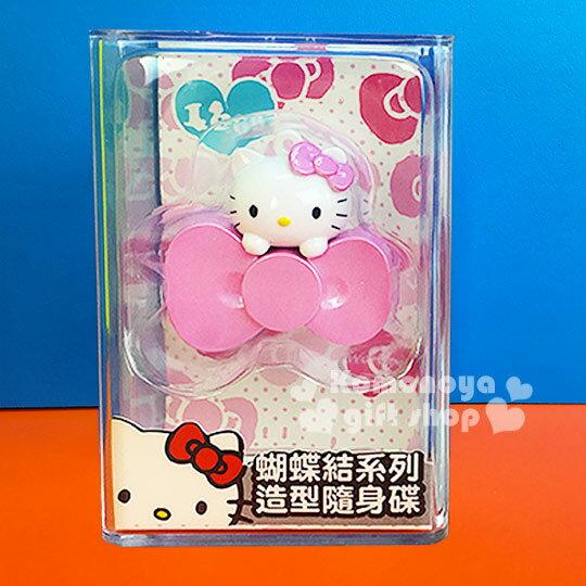 〔小禮堂〕Hello Kitty 造型隨身碟《粉.大臉.蝴蝶結.16G》精美透明盒裝