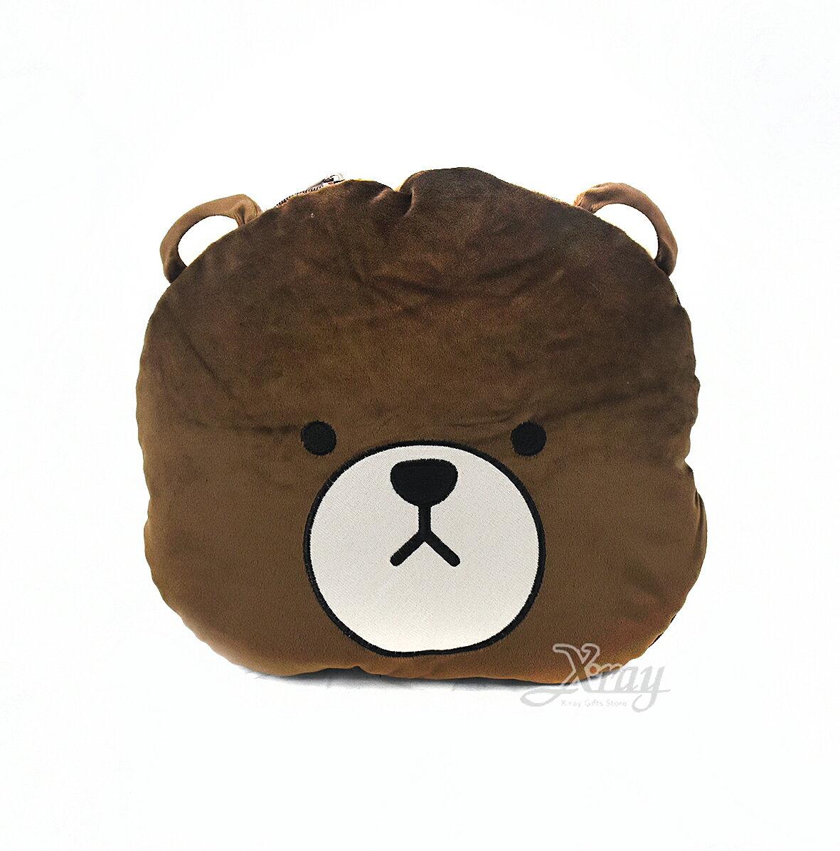 X射線【C020038】LINE熊大-棉被抱枕,可當棉被又可收納成抱枕/枕頭/抱枕/靠墊/午睡枕