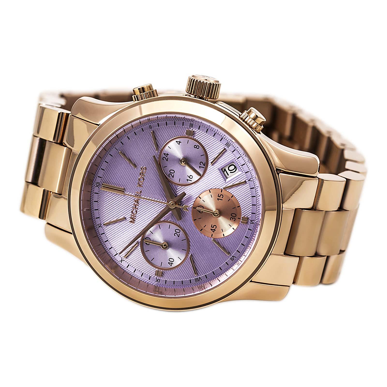 美國Outlet 正品代購 Michael Kors MK 三環 螢光紫精鋼 滿鑽 手錶 腕錶 MK6163 4
