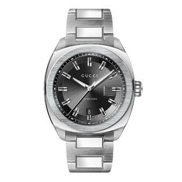 Gucci古吉YA142201時尚GLOGO面盤經典腕錶黑面44mm