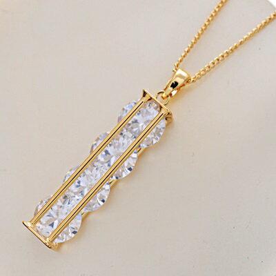 純銀項鍊 鍍18K金水晶吊墜~精緻方形滿鑽七夕情人節 女飾品73dn153~ ~~米蘭 ~