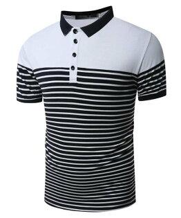 FINDSENSEZ1日系流行男時尚大碼立領商務條紋拼接短袖T恤短袖POLO衫特色短T