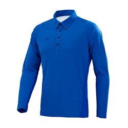 32TA754521(藍)立領扣設計 男長袖POLO衫 【美津濃MIZUNO】