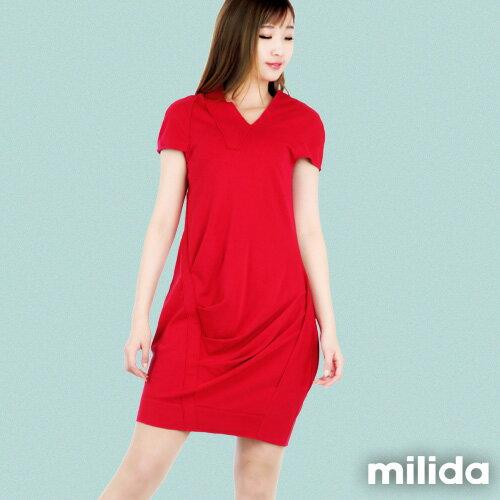【Milida,全店七折免運】-春夏商品-V領款-修身氣質洋裝 4