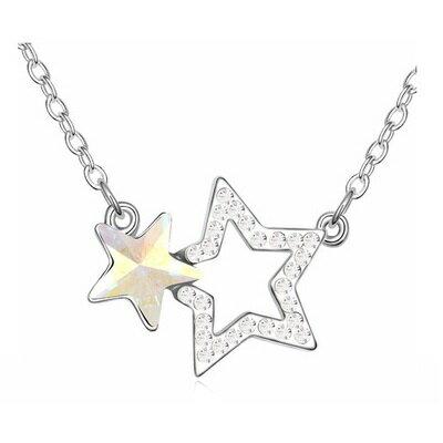 925純銀項鍊水晶吊墜~簡約 星星物語七夕情人節 女飾品4色73bb358~ ~~米蘭 ~