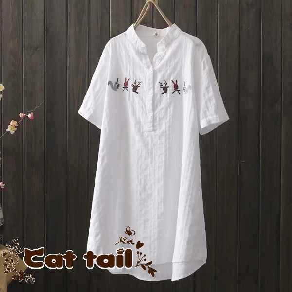 《貓尾巴》CH-02482 民族風可愛動物刺繡V領款短袖上衣(森林系 日系 棉麻 文青 清新)