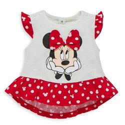 Disney baby 米妮系列俏皮甜心格子上衣-白色