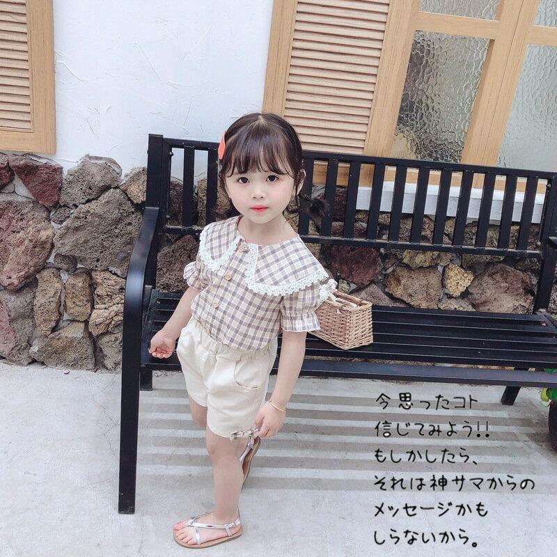 2020新款童裝韓版女童寶寶嬰兒童衣服翻領時尚格子短袖兩件裝外貿