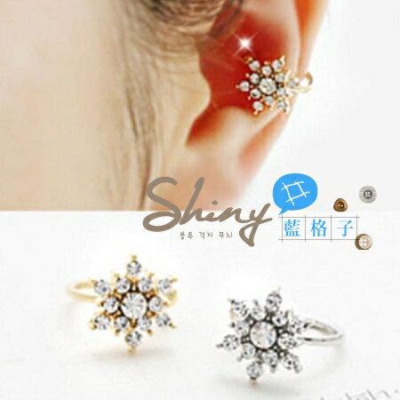 【DJJ4409】shiny藍格子-時尚花鑲鑽耳夾