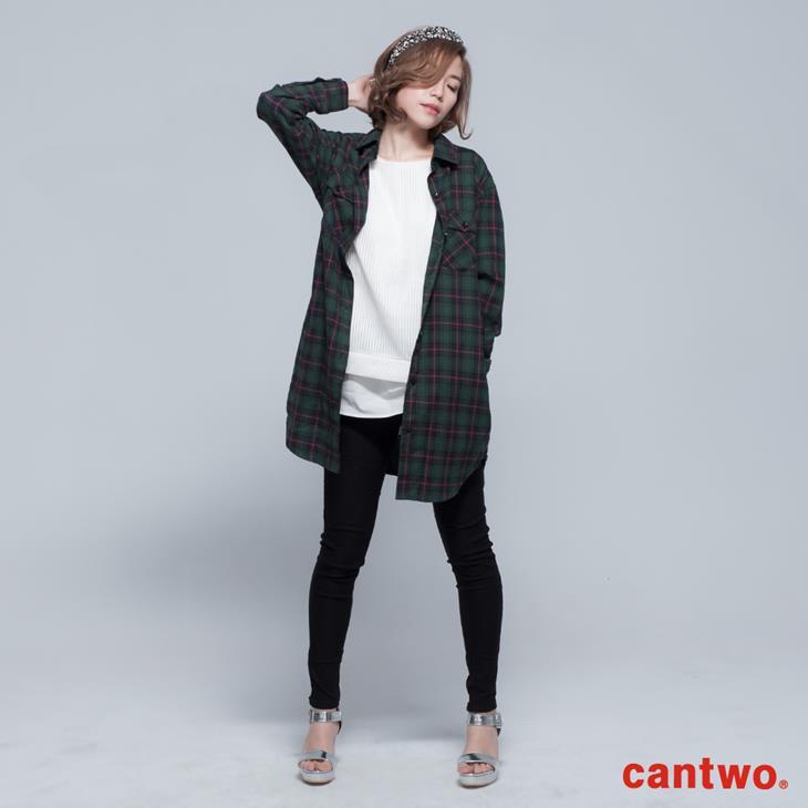 cantwo男友風格紋長版襯衫(共二色) 0
