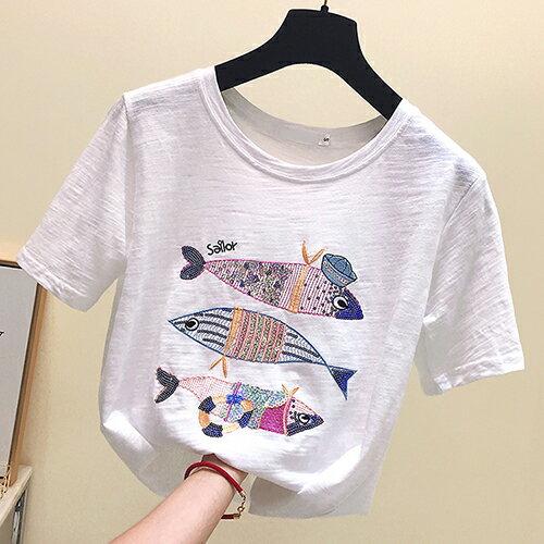 *ORead* 小魚刺繡純棉寬鬆T恤(3色S~XL) 1