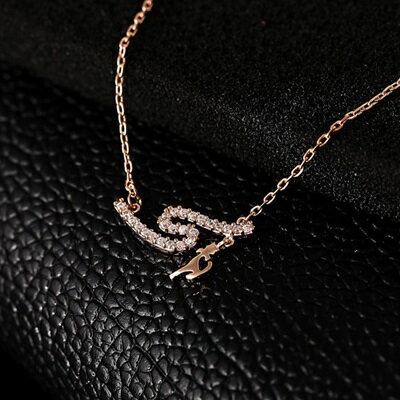 純銀項鍊 鍍18K金鑲鑽吊墜~ 大方 情人節生日 女飾品73dn88~ ~~米蘭 ~